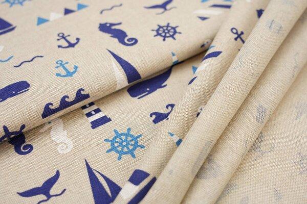 Canvas-Stoff Dekostoff in Leinenoptik maritim Boote Seepferdchen Fische natur