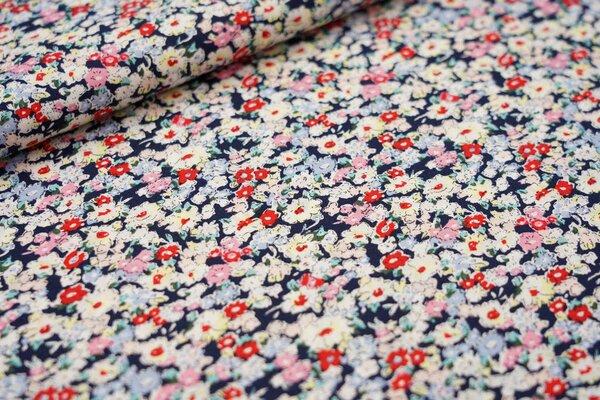Baumwollstoff mit Blumenmeer dunkelblau / rosa / hellblau / rot / hellgelb