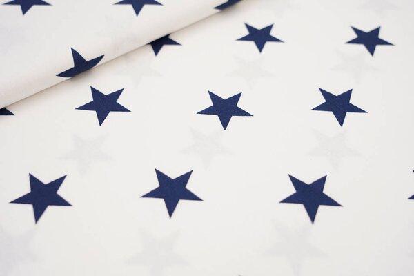 Baumwollstoff Baumwolle weiß mit sehr großen dunkelblauen Sternen