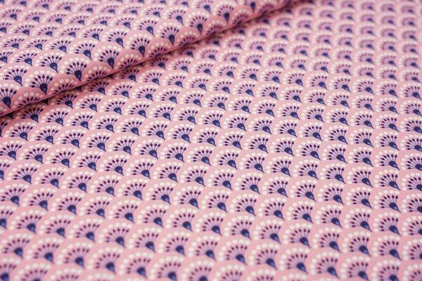 Baumwollstoff Fächer Muster auf pastell rosa