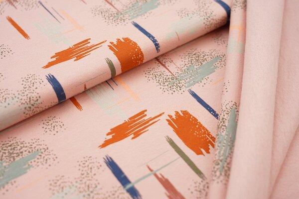 Kuscheliger Baumwoll-Sweat Strich-Punkte-Muster lachs / orange / altmint / braun