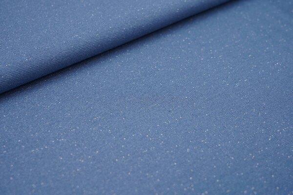 Glattes Glitzer Bündchen taupe blau mit silber