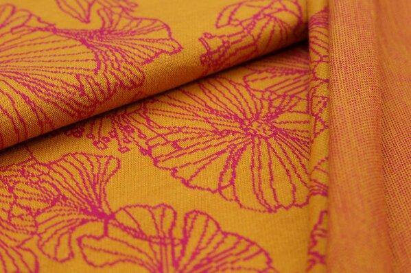 Jacquard-Sweat Ben große amarant pinke Blumen auf senf