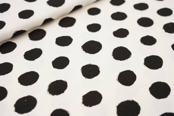 Baumwoll-Jersey große schwarze Punkte auf creme