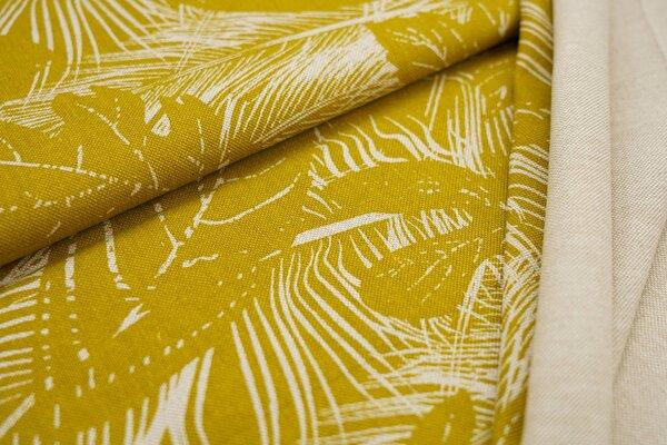 Canvas-Stoff Dekostoff in Leinenoptik große natur Blätter auf senf oliv