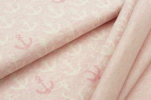 Jacquard-Sweat Mia off white und pastell pinke Anker auf pastell rosa Melange