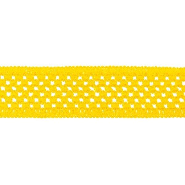 Elastisches Baumwollband in Häkeloptik uni gelb 50 mm