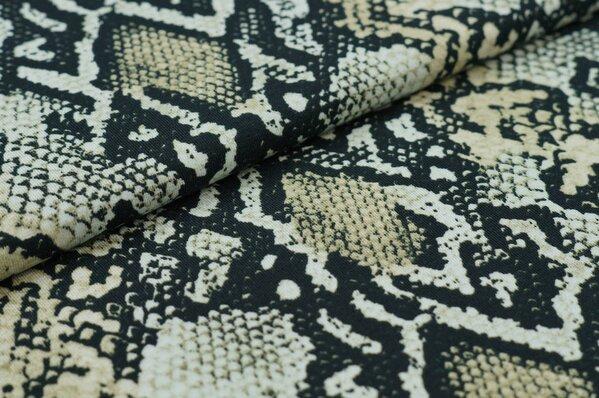 Baumwoll-Jerseystoff Schlangenhaut Muster schwarz / hellgrün / beige