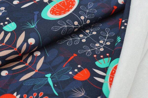 XXL Baumwoll-Sweat mit Digitaldruck Blumen und Blätter auf sehr dunkelblau
