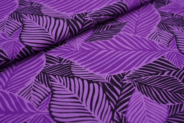 Baumwoll-Jersey Digitaldruck große lila / schwarze Blätter