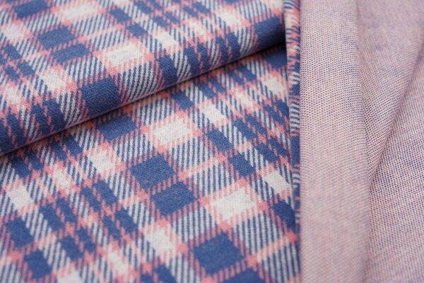 Jacquard-Jersey Karo Muster off white / koralle / taupe blau