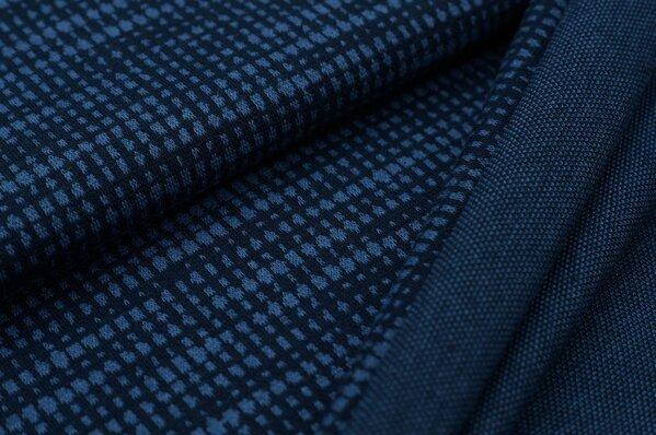 Jacquard-Sweat Ben Kästchen Muster navy blau / taupe blau