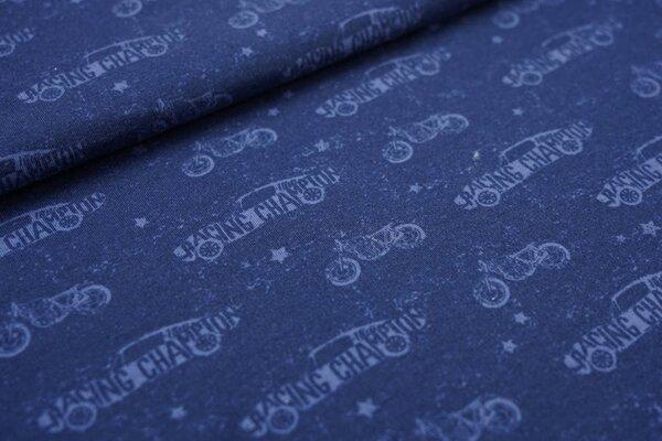 Kuscheliger Baumwoll-Sweat Motorräder Rennautos Sterne dunkelblau / taupe blau