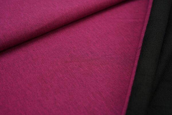 Softshell-Stoff uni beere pink meliert / schwarze Innenseite