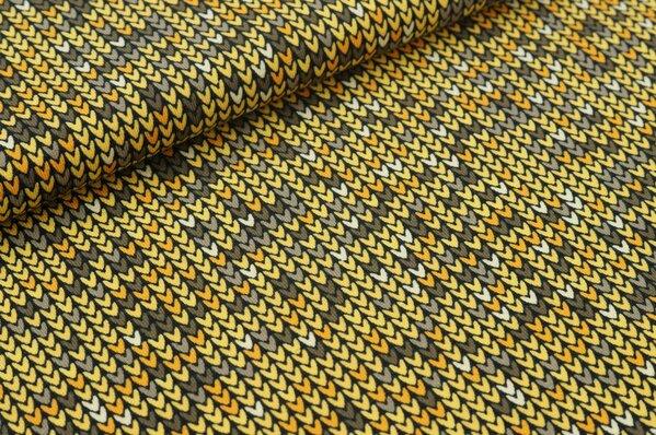 Baumwoll-Jersey mit kleinen Herzchen in orange gelb braun hellbraun