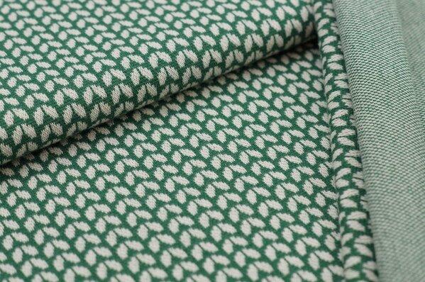 Jacquard-Sweat Ben kleine off white Blätter auf dunkelgrün