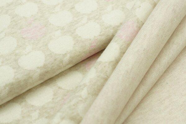 Jacquard-Sweat Mia off white und pastell rosa Äpfel auf pastell beige Melange