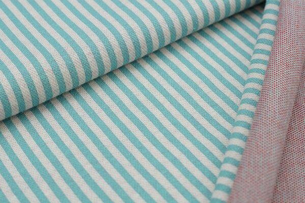 Jacquard-Sweat mit Streifen eisblau / off white mit rot
