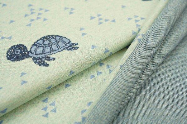 Jacquard-Sweat Mia Schildkröten / Dreiecke pastell mint / jeansblau Melange
