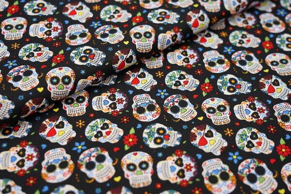 Baumwollstoff bunte Totenköpfe Herzen Blumen auf schwarz Totenkopf