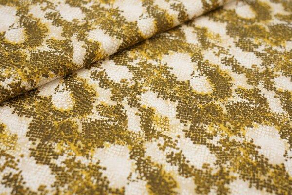Baumwoll-Jerseystoff Schlangenhaut senf