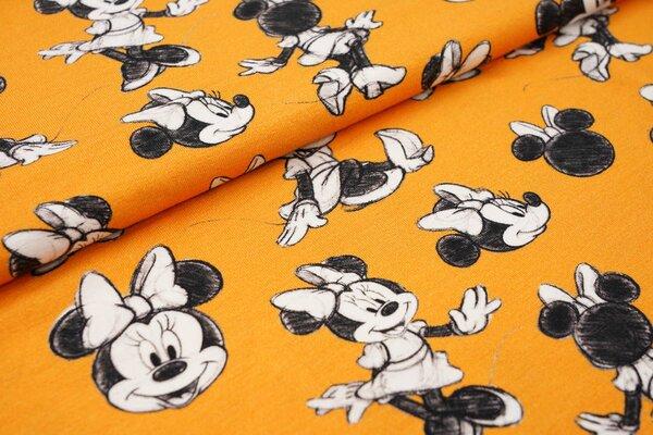 Digitaldruck Baumwoll-Jersey Minnie Mouse auf gelborange Maus Mäuse
