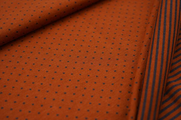 Double face Jersey Punkte / Streifen in rostorange / dunkelgrau