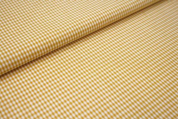 Baumwollstoff Baumwolle vichykaro Karomuster sehr klein kariert weiß / senf