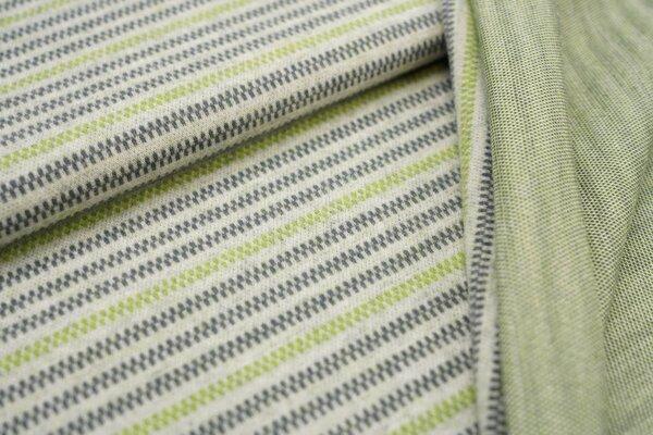 Jacquard-Jersey Linien Muster Streifen off white / dunkelgrau / hellgrün