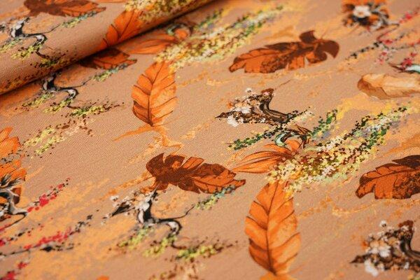 Digitaldruck Baumwoll-Jersey Bonsai Bäumchen Blätter Vogel auf gelb orange