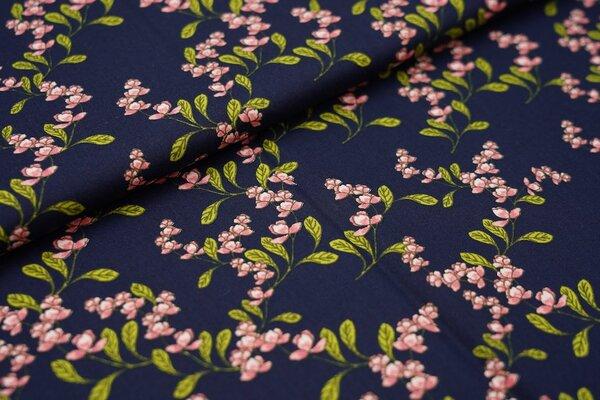 Baumwolle Blütenzweige Blumen dunkelblau / grün / koralle
