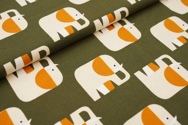 Baumwoll-Jersey Elefanten Parade dunkel khaki grün / beige / ockerbraun