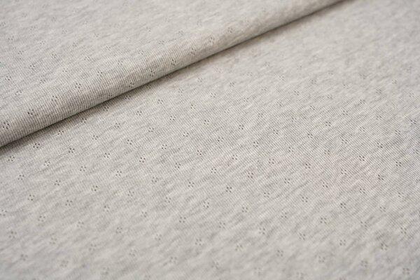 Feinstrick-Jersey uni mit Lochmuster grau melange