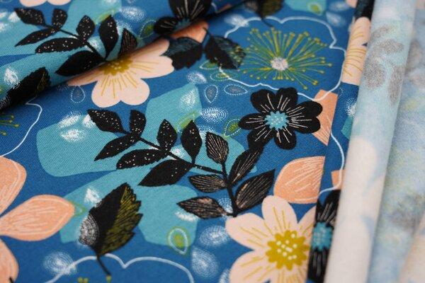 Kuscheliger Baumwoll-Sweat große Blüten und Blätter auf petrol blau Blumen