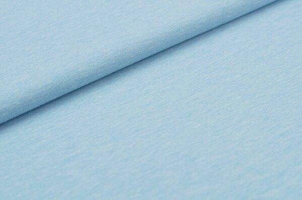 Baumwoll-Jersey uni babyblau meliert