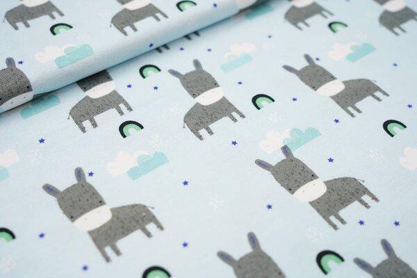Baumwoll-Jersey Esel Regenbögen Wolken Sterne auf hellblau Regenbogen